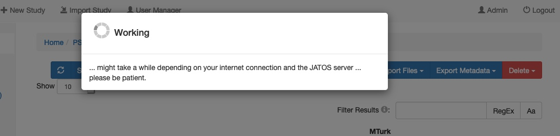 Picture of jatos server with working symbol