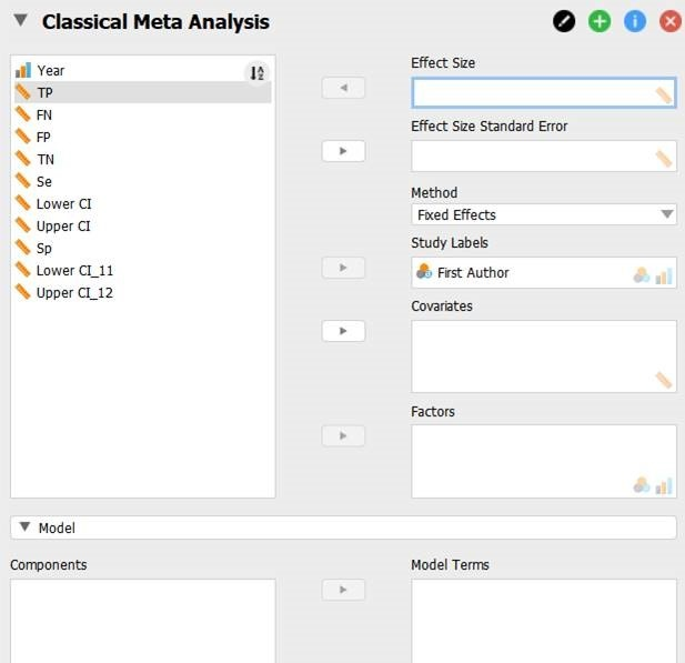 JASP meta-analisys, tests for diagnosis (sensibility and specificity) \u2014 Forum